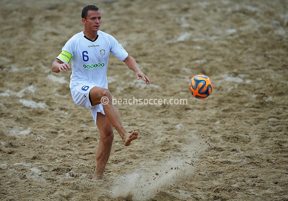 TORREDEMBARRA, SPAIN - AUGUST 16: Euro Beach Soccer League Superfinal Torredembarra 2014 at Playa de La Paella on August 16, 2014 in Torredembarra, Spain. (Photo by Manuel Queimadelos)