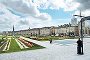 quai de la douane and richelieu, st michel church bordeaux france