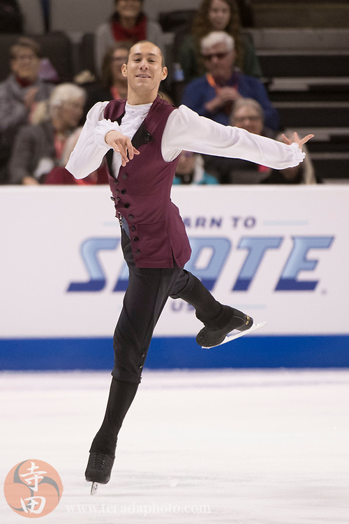January 4, 2018; San Jose, CA, USA; Jason Brown performs in the mens short program during the 2018 U.S. Figure Skating Championships at SAP Center.