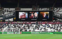 Football - 2020 / 2021 Premier League - Final Round - West ham United vs Southampton - London Stadium<br /> <br /> Fans who died due to Coronavirus displayed on the large screen before the game.<br /> <br /> COLORSPORT/ASHLEY WESTERN