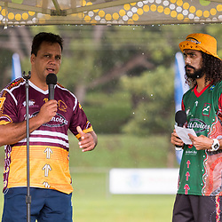 BRISBANE, AUSTRALIA - MARCH 19: Steve Renouf speaks before the Round 3 QRL Intrust Super Cup match between Wynnum Manly and Tweed Heads Seagulls at Ron Stark Oval on March 18, 2017 in Brisbane, Australia. (Photo by Patrick Kearney/Wynnum Manly Seagulls)