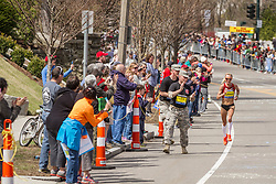 2014 Boston Marathon: lead pack of elite women race passes mile 19 in the Newton Hills, Shalane Flanagan on Heartbreak Hill