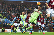 Vincent Kompany of Man city ® goes close to scoring with a header at goal. Barclays Premier league match, Aston Villa v Manchester city at Villa Park in Birmingham, Midlands  on Sunday 8th November 2015.<br /> pic by  Andrew Orchard, Andrew Orchard sports photography.
