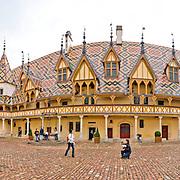 Courtyard of the Hotel Dieu de Beaune, also known as the Hospices de Beaune.