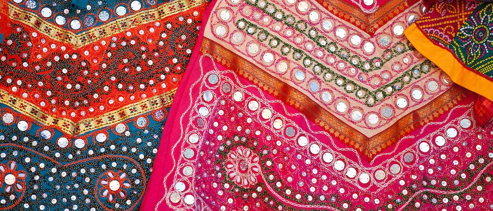 Traditional muslim garments on display at stall in bazaar in Jaipur, Rajasthan, Northern India