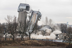 December 18, 2018 - Wroclaw, Poland - December 18 2018 Poland Wroclaw. Blowing up silos in the old port in Wroclaw. A housing estate will be built on the site. (Credit Image: © Krzysztof Kaniewski/ZUMA Wire)