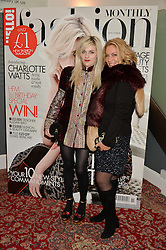 Left to right, CHARLOTTE WATTS and her mother SERAPHINA WATTS at a party to celebrate the 1st anniversary of Hello! Fashion Monthly magazine held at Charlie, 15 Berkeley Street, London on 14th October 2015.