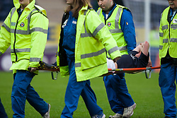 Falkirk's Craig Sibbald was stretchered off with a suspected broken ankle..Falkirk 1 v 0 Queen of the South, 15/10/2011..Pic © Michael Schofield.