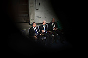 Nobel Peace Prize winners (from left) Jose Manuel Barroso, Herman Van Rompuy and Martin Schulz seen during the ceremony in City Hall.