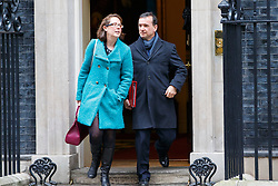 © Licensed to London News Pictures. 10/01/2017. London, UK. BARONESS EVANS and Secretary of Wales ALUN CAIRNS attend a cabinet meeting in Downing Street on Tuesday, 10 January 2017. Photo credit: Tolga Akmen/LNP
