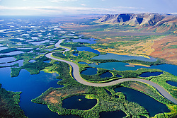 Mackenzie River delta and the Richardson Mountains, Northweste Territories