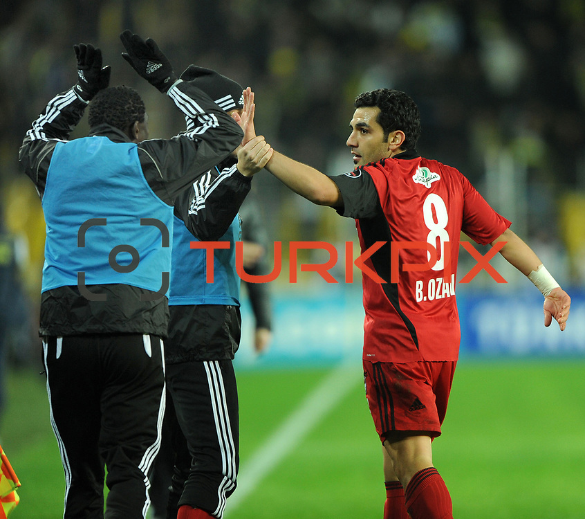 Gaziantepspor's Bekir Ozan Has celebrate his goal with team mate during their Turkish superleague soccer match Fenerbahce between Gaziantepspor at the Sukru Saracaoglu stadium in Istanbul Turkey on Monday09 January 2011. Photo by TURKPIX