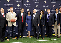 04 October 2011. New Orleans, Louisiana, USA.  <br /> NFL's New Orleans Saints announce a multi million dollar deal with Mercedes-Benz for naming rights on the Louisiana Superdome. Now the Mercedes-Benz Superdome. L/R Mayor Mitch Landrieu, Quarterback Drew Brees, Mercedes-Benz USA President and CEO Ernst Leib, Gayle Benson (wife of Tom), Saints owner Tom Benson, grand daughter, part owner and Saints VP Rita Benson Leblanc, Mercedes-Benz VP Marketing Stephen Cannon and Louisiana and Governor Bobby Jindal.<br /> Photos; Charlie Varley/varleypix.com
