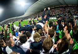 Players of Slovenia and head coach Matjaz Kek celebrate at  FIFA World Cup Sout Africa 2010 Qualifying Second Play off match between Slovenia and Russia, on November 18, 2009, in Stadium Ljudski vrt, Maribor, Slovenia. Slovenia won 1:0 and qualified for the FIFA World Championships 2010. (Photo by Vid Ponikvar / Sportida)