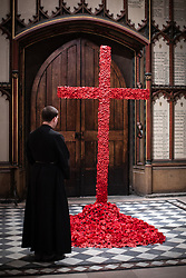 © Licensed to London News Pictures. 11/11/2018. Manchester, UK. Senior Verger GARETH SCREETON looks at a poppy cross , created by Manchester Cathedral flower arranger Helen Bamping , following a service of remembrance for those killed in war at Manchester Cathedral on the morning of the 100th anniversary of Armistice Day , marking the end of the First World War . Photo credit: Joel Goodman/LNP