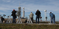 February 5, 2018 - Cape Canaveral, FL, USA - Photographers set out remote cameras at the Kennedy Space Center as SpaceX's Falcon heavy rocket sits on the launch Pad 39A Monday, Feb. 5, 2018 ready for the maiden demonstration test launch scheduled for Tuesday afternoon at 1:30pm. (Credit Image: © Red Huber/TNS via ZUMA Wire)