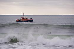 January 30, 2018 - Hossegor, France - Pierre Agnes, le PDG de Quiksilver, est recherche en mer depuis plusieurs heures ce mardi. Le Landais a disparu alors qu'il était à bord de son bateau Â« le Mascaret III ». L'embarcation s'est echouee sur une plage d'Hossegor (Landes)...Moyens de sauvetage engages : vedette SNS 208  des Sauveteurs en Mer, Vedette Côtiere ''Adour'' Gendarmerie maritime, helicoptere Dragon 33 Securite civil et l'hélicoptère Caracal de l'Armee Francaise. (Credit Image: © Panoramic via ZUMA Press)