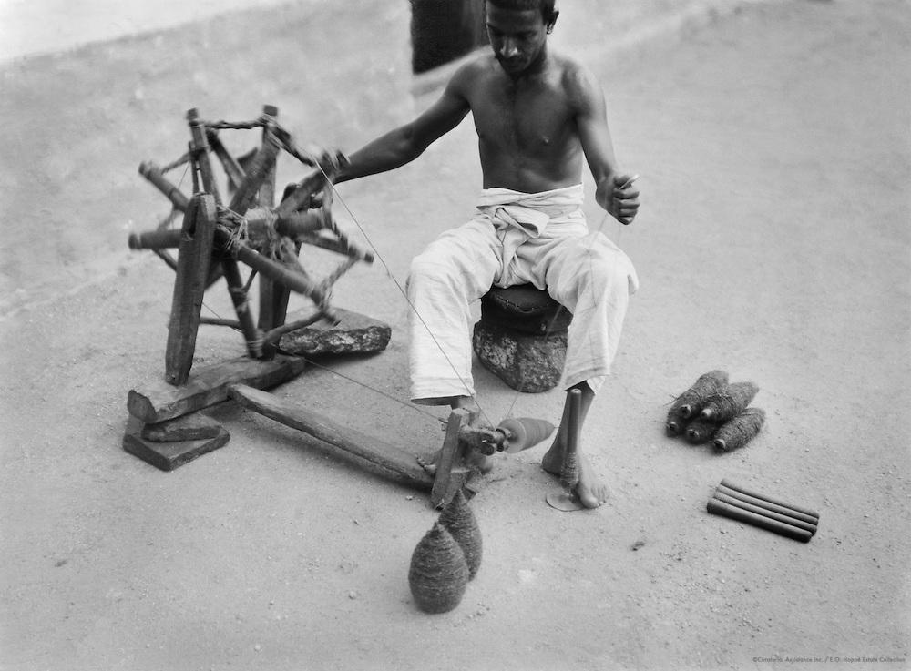 Spinning the Clarka, Bellary, India, 1929