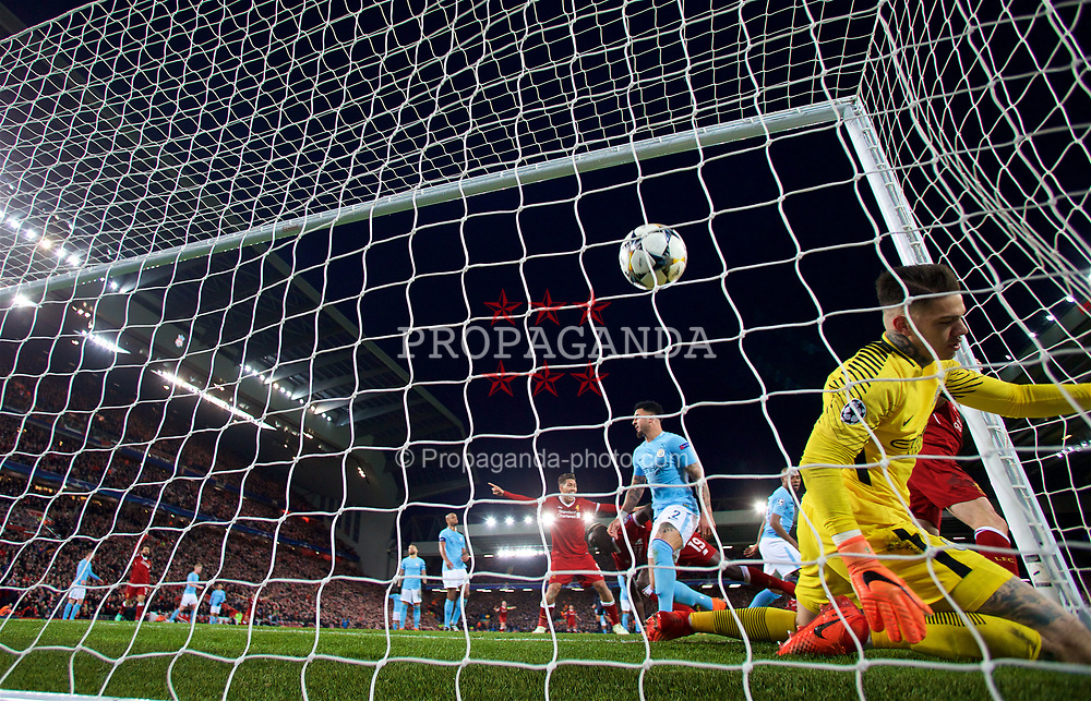 LIVERPOOL, ENGLAND - Wednesday, April 4, 2018: Manchester City's goalkeeper Ederson Moraes looks dejected as Liverpool's Sadio Mane scores the third goal during the UEFA Champions League Quarter-Final 1st Leg match between Liverpool FC and Manchester City FC at Anfield. (Pic by David Rawcliffe/Propaganda)