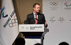 BEIJING, June 5, 2018  Andrew Parsons, president of the International Paralympic Committee, speaks at the PyongChang 2018 Debrief meeting in Beijing on June 4, 2018. The PyeongChang 2018 Debrief started at the headquarters of the Beijing Organising Committee for the 2022 Olympic and Paralympic Winter Games on Monday to share expertise, experience, and best practices for hosting the Games. (Credit Image: © Zhang Chenlin/Xinhua via ZUMA Wire)