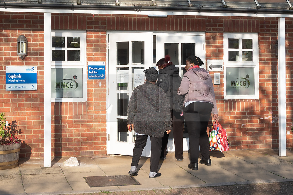 © Licensed to London News Pictures. 16/04/2020. London, UK. Healthcare workers enter Coplands elderly residential care home in Wembley, North-West London. Amid criticism that care homes were being ignored during the outbreak, Health Secretary Matt Hancock announced during Wednesday's Downing Street daily press briefing that from Wednesday all care home residents coming back from hospital will be tested before being admitted to the care home. Photo credit: Ray Tang/LNP