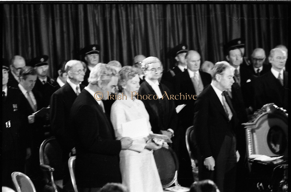 Inaugeration of Cearbhall O'Dalaigh as President  (H77).1974..19.12.1974..12.19.1974..19th December 1974..Following the sudden death of President Erskine Childers, Mr Cearbhall O'Dalaigh was nominated by The Fianna Fail party as its candidate to replace him. The Fine Gael /Labour coalition government did not oppose the nomination and Mr O'Dalaigh was elected un-opposed on a joint party agreement...Photograph shows some of those who attended the inaugeration, Justin Keating TD, Ex President Eamon DeValera, Brendan Corish,Tanaiste, Mrs Mairin O'Dalaigh Liam Cosgrave,Taoiseach, Conor Cruise O'Brien TD and Jack Lynch TD.