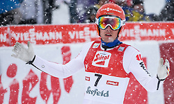 31.01.2016, Casino Arena, Seefeld, AUT, FIS Weltcup Nordische Kombination, Seefeld Triple, Skisprung, Wertungssprung, im Bild Johannes Rydzek (GER) // Johannes Rydzek of Germany reacts after his Competition Jump of Skijumping of the FIS Nordic Combined World Cup Seefeld Triple at the Casino Arena in Seefeld, Austria on 2016/01/31. EXPA Pictures © 2016, PhotoCredit: EXPA/ Jakob Gruber