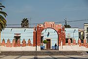 Colorful colonial buildings in Actopan, Hidalgo, Mexico.