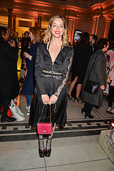 """SIENNA GUILLORY at a private view of Undressed: A Brief History Of Underwear"""" at the V&A, London on 13th April 2016."""