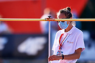 Poland, Radom - 2020 September 12: Referee sets high measure during women's high jump final while 74. PZLA Athletics Polish Championships U20 - Radom 2020 - Day#2 during pandemic COVID-19 at MOSiR Stadium on September 12, 2020 in Radom, Poland.<br /> <br /> Mandatory credit:<br /> Photo by © Adam Nurkiewicz<br /> <br /> <br /> Adam Nurkiewicz declares that he has no rights to the image of people at the photographs of his authorship.<br /> <br /> Picture also available in RAW (NEF) or TIFF format on special request.<br /> <br /> Any editorial, commercial or promotional use requires written permission from the author of image. Single publication only for informational, journalistic or documentary purposes inside a newspaper, magazine or book (digital versions allowed). One edition on the territory of one country. Resale is forbidden.<br /> <br /> Image can be used in the press when the method of use and the signature does not hurt people on the picture.