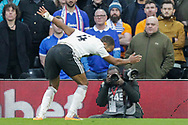 GOAL 1-0 Fulham defender Denis Odoi (4) scores celebrates with a somersault during The FA Cup 3rd round match between Fulham and Oldham Athletic at Craven Cottage, London, England on 6 January 2019.