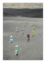 Sailing - The 2007 Bell Lawrie Scottish Series hosted by the Clyde Cruising Club, Tarbert, Loch Fyne..Fleet Aerial Tiso Race course downwind sportboat fleet.National Sonata GBR8217N So..Sonatas and Sportsboats led by Sonata So, sailing right off the entrance to Tarbert Harbour in the Tiso Course area..