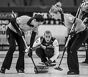 """Glasgow, SCOTLAND, Russian, """"Skip"""", Victoria MOISEEVA, during the, Round Robin Game,  Scotland vs Russia,  Le Gruyère European Curling Championships, 2016 Venue, Braehead,  Scotland,<br /> Thursday,  24/11/2016<br /> <br /> [Mandatory Credit; Peter Spurrier/Intersport-images]"""