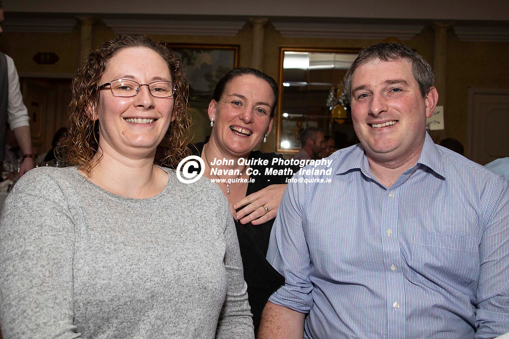 27/10/2019, Bohermeen Athletic Club 50th Anniversary celebration at the Ardboyne Hotel, Navan.<br /> Pictured at the Bohermeen Athletic Club 50th Anniversary celebration, L-R, Pamela & Brian Reilly with Kathleen Croal<br /> Photo: David Mullen / www.quirke.ie ©John Quirke Photography, Unit 17, Blackcastle Shopping Cte. Navan. Co. Meath. 046-9079044 / 087-2579454.<br /> ISO: 400; Shutter: 1/200; Aperture: 6.3; <br /> File Size: 3.0MB