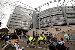 General View outside the stadium as police horses moniter Newcastle United fans gathering - Photo mandatory by-line: Rogan Thomson/JMP - 07966 386802 - 21/12/2014 - SPORT - FOOTBALL - Newcastle upon Tyne, England - St James' Park - Newcastle United v Sunderland - Tyne-Wear derby - Barclays Premier League.