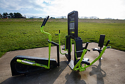 Static exercise machines at Cramond Promenade. Edinburgh on the day after the Lockdown.