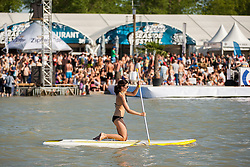 28.04.2012, Burgenland, Neusiedler See, Podersdorf, AUT, PWA, Surf Worldcup, im Bild stand up paddle // during surfworldcup at podersdorf, EXPA Pictures © 2012, PhotoCredit: EXPA/ M. Kuhnke