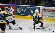The Victoria Grizzlies Tyler Welsh celebrates as Keyvan Mokhtari scores the winning goal on Powell River Kings goaltender Brian Wilson in double overtime at the Q Centre in Colwood, British Columbia Canada on March 27, 2017.