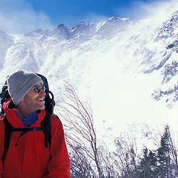 Winter hiking on Mount Washington in New Hampshire's White Mountain National Forest.  Tuckerman Ravine.Pinkham's Grant, NH