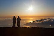 Sunset from summit, Haleakala National Park, Maui, Hawaii