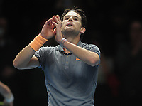 Tennis - 2019 Nitto ATP Finals at The O2 - Day Three<br /> <br /> Singles Group Bjorn Borg: Novak Djokovic (Serbia) vs.Domininic Thiem (Austria)<br /> <br /> Domininic Thiem after winning the match in 3 sets<br /> <br /> COLORSPORT/ANDREW COWIE