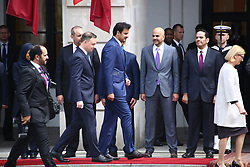May 5, 2017 - Warsaw, Poland - President Duda recieves Qatar´s Emir Tamam bin Hamad al-Thani with military honours at Presidential Palace in Warsaw. Emir Al-Thani visits Poland for bilateral agreement talks. (Credit Image: © Jakob Ratz/Pacific Press via ZUMA Wire)