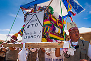10 SEPTEMBER 2003 - CANCUN, QUINTANA ROO, MEXICO: Farmers from South Korea lead a protest against liberalizing agricultural trade at the WTO ministerial conference in Cancun. Lee Kyung-hae, a South Korean farmer, committed ritual suicided during the protest. Tens of thousands of protesters, mostly farmers, came to Cancun for the fifth ministerial of the World Trade Organization (WTO). They were protesting against developed nations pushing to get access to agricultural markets in developing nations. The talks ultimately collapsed after no progress with no agreements reached between the participants.           PHOTO BY JACK KURTZ