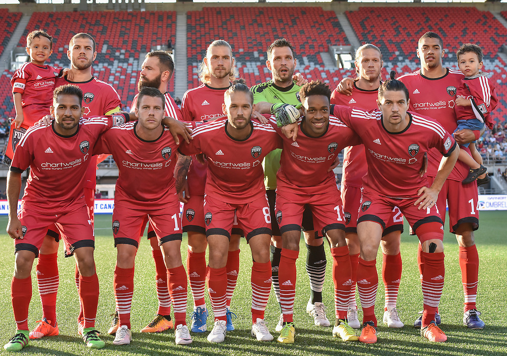 The Ottawa Fury starting XI for the Amway Canadian Championship semi-final first leg match between the Ottawa Fury FC and the Vancouver Whitecaps at TD Place Stadium in Ottawa, ON. Canada on June 1, 2016.<br /> <br /> PHOTO: Steve Kingsman/Freestyle Photography