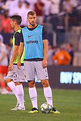 August 7, 2018 - East Rutherford, NJ, U.S. - EAST RUTHERFORD, NJ - AUGUST 07:  Roma forward Edin Dzeko (9) warms up prior to the International Champions Cup game between Real Madrid and AS Roma on August 7, 2018, at Met Life Stadium in East Rutherford, NJ.  (Photo by Rich Graessle/Icon Sportswire) (Credit Image: © Rich Graessle/Icon SMI via ZUMA Press)