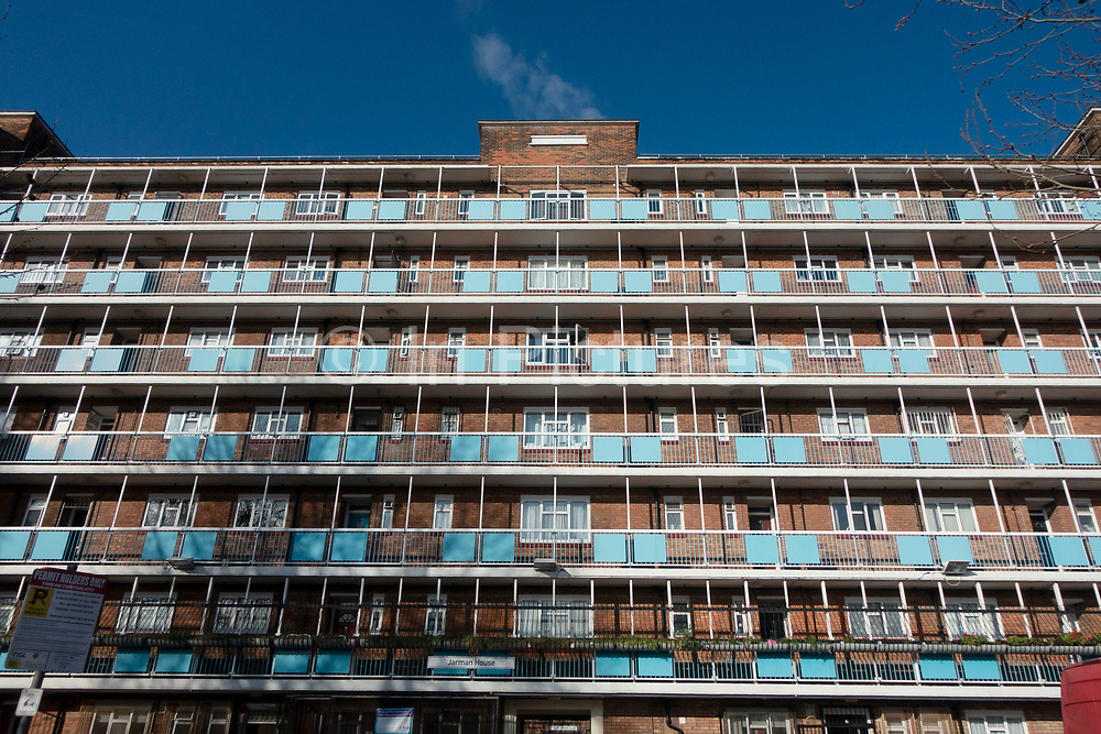 Block of flats in Whitechapel on 6th March 2020 in London, United Kingdom. This area in Tower Hamlets is a poor and over populated borough with many people living in small homes of social housing in high rise apartment blocks.
