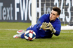 May 15, 2019 - Foxborough, MA, U.S. - FOXBOROUGH, MA - MAY 15: Chelsea FC goalkeeper Kepa Arrizabalaga (1) makes a stop in warm up before the Final Whistle on Hate match between the New England Revolution and Chelsea Football Club on May 15, 2019, at Gillette Stadium in Foxborough, Massachusetts. (Photo by Fred Kfoury III/Icon Sportswire) (Credit Image: © Fred Kfoury Iii/Icon SMI via ZUMA Press)