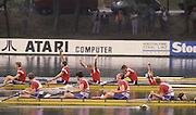 Bled, Slovenia, YUGOSLAVIA.   TCH 4+, celebrate silver in the men's Coxed Four at the 1989 World Rowing Championships, Lake Bled. [Mandatory Credit. Peter Spurrier/Intersport Images]  .Silver TCH M4+, Michal SUBRT, Pavel MENSIK, Dusan VICIK Stroke Dusan MACHACEK cox Jiri PTAK  Bronze medal GBR M4+, bow Steve TURNER, Matthew PINSENT, Gavin STEWART stroke Terence DILLON cox Thomas VAUGHAN.