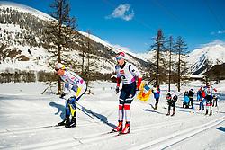 February 2, 2018 - Goms, SWITZERLAND - 180202 Eddie EdstrÅ¡m of Sweden and Mattis Stenshagen of Norway compete in the men's 15/15 km skiathlon during the FIS U23 Cross-Country World Ski Championships on February 2, 2018 in Obergoms..Photo: Vegard Wivestad GrÂ¿tt / BILDBYRN / kod VG / 170096 (Credit Image: © Vegard Wivestad Gr¯Tt/Bildbyran via ZUMA Press)