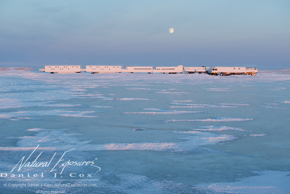 The moon rises over the Tundra Buggy lodge at Cape Churchill, on Hudson Bay, Manitoba.